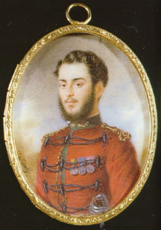 an officer of the garibaldi volunteers in red uniform with green collar with gold thread embroidery by luigi gandolfi