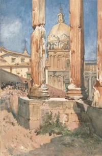 der vespasianstempel auf dem forum romanum by julius jacob the younger
