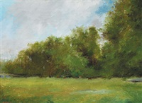 meadow with trees and cattle by leo earley