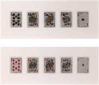 pixcell - trump #3 (royal straight flush-club) and trump #4 (royal straight flush-diamond) (2 works) by kohei nawa