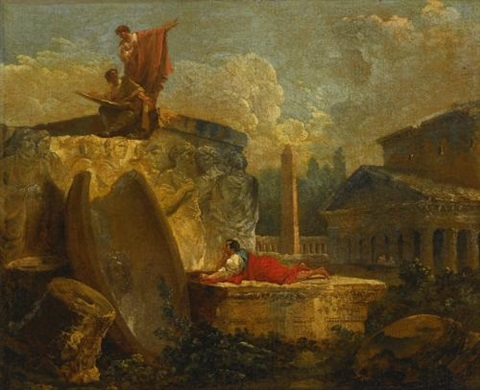 draughtsmen in a landscape with antique ruins by hubert robert
