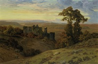 a castle ruin at dusk by lucien simonnet