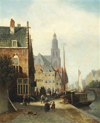 daily activities on a quay in a dutch town by johannes frederik hulk the elder