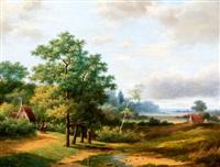 boomrijk landschap met man en kind op de voorgrond by marinus adrianus koekkoek the elder
