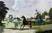 lady driving carriage on village green by doris clare zinkeisen