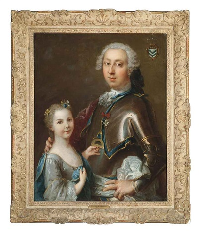 double portrait of a gentleman in armor wearing the order of saint nicholas the wonderworker and his daughter in a light blue dress by louis tocqué