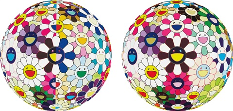 flowerball brown; flowerball (3d) from the realm of the dead) (2 works) by takashi murakami