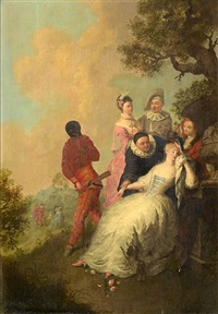 commedia dell'arte figures, gathered around a woman in repose with courtly scenes in the distance by gerard joseph xavery