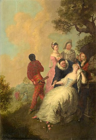 commedia dellarte figures gathered around a woman in repose with courtly scenes in the distance by gerard joseph xavery