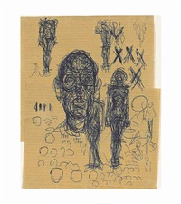 tête d'homme et femme debout by alberto giacometti