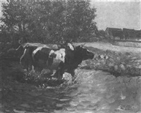 a peasant and cows fording a brook by heinz theis