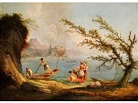 fischer und frauen am ufer der bucht von genua by carlo bonavia