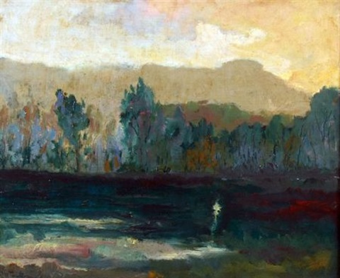 impressionist landscape at dusk by john henry twachtman
