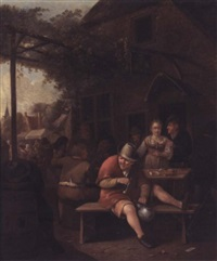 figures smoking and drinking outside an inn by hendrik carre