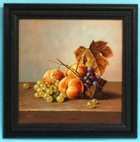 still life with peaches and grapes by balazs wanyi