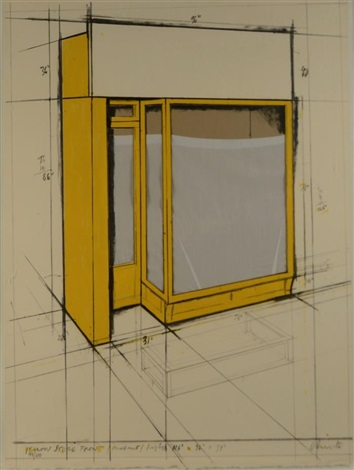 yellow store front by christo and jeanne claude