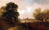 east anglian landscape with figure and dog by a loch by edward robert smythe
