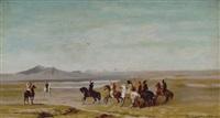caccia con falco nelle vicinanze del lago urmieh (persia) by roberto guastalla