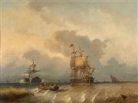 scène maritime animée devant anvers by antonie waldorp