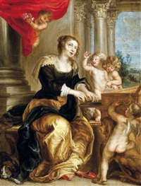 klavierspelende sint-cecilia omgeven door engeltjes by jan erasmus quellinus