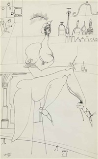 at the bar (double sided) by saul steinberg