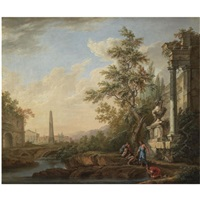 an italianate landscape with figures drinking from a stream beneath ruins, an obelisk, a roman triumphal arch and a town beyond by lorens (lars) gottman