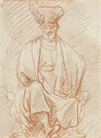 a seated man wearing a hat by pieter lastman