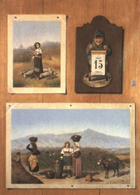 a trompe-l'oeil with a calendar, a stamp and pictures of rural scenes by francesco alegiani
