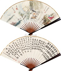 flower, figure and calligraphy (double-sided) by zheng jibin and xiao tui'an