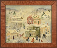 winter town scene by jeanne davies