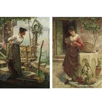 the love letter (+ awaiting his return; pair) by charles john arter