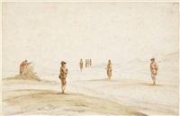 figures on a beach by dirck van der lisse