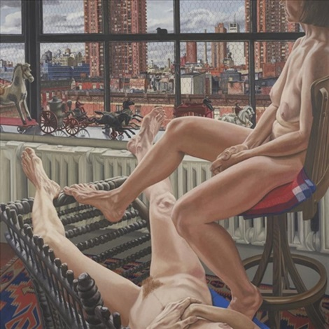 two models in a window with cast iron toys by philip pearlstein