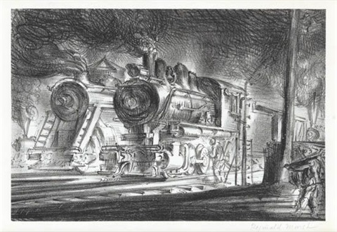 switch engines erie yards jersey city stone no 3 by reginald marsh