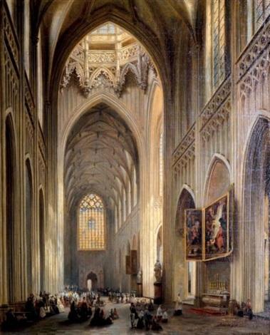 intérieur de la cathédrale danvers et le triptyque de rubens by jules victor genisson