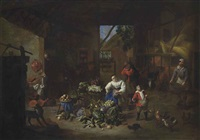 a woman selling vegetables in a barn with a boy feeding chickens by matheus van helmont