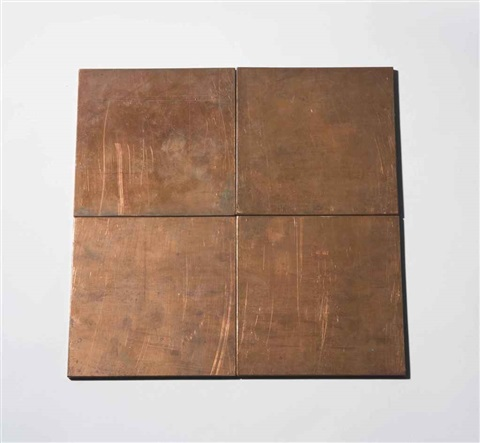 copper square in 4 parts by carl andre