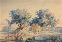 orientalische lanschaft mit kamelen und büffelhirten by johann hermann kretzschmer