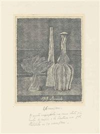 natura morta con compostiera, bottiglia lunga e bottiglia scannellata by giorgio morandi