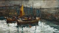 paisaje con barcas by roberto domingo fallola