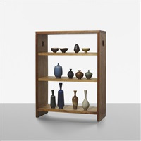 collection of miniature vessels with display cabinet by berndt friberg