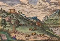 ansicht von innsbruck mit schloß ambras by franz hogenberg