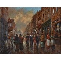 a european street scene by henricus gerardus de korte