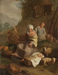 scena di genere con contadini by francesco londonio