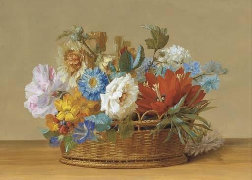 des hortensias des liserons bleus et des roses dans une corbeille sur un rebord by johann samuel arnhold
