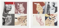 men's hands smoking (+ women's hands smoking; 2 works) by julia jacquette