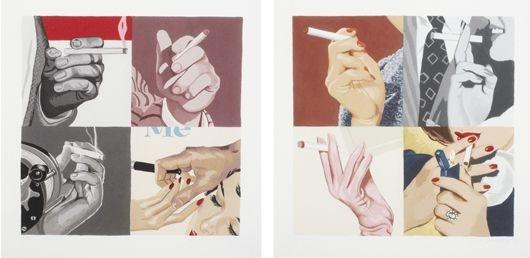 men's hands smoking (+ women's hands smoking; 2 works) by julia jacquette