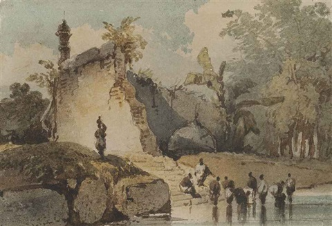 a ruined temple with fallen dome bengal by george chinnery