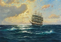 ship at sunset by martin franz glüsing (francis-glüsing)