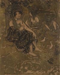 femmes orientales au bord de l'eau by georges manzana-pissarro